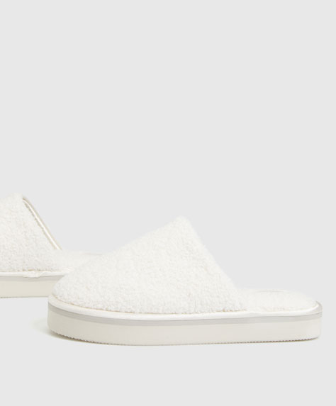 Flatform slippers with satin trim detail