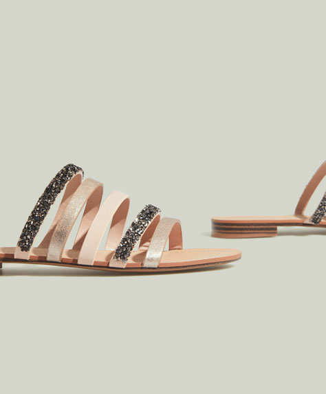 Sandals with bejewelled straps