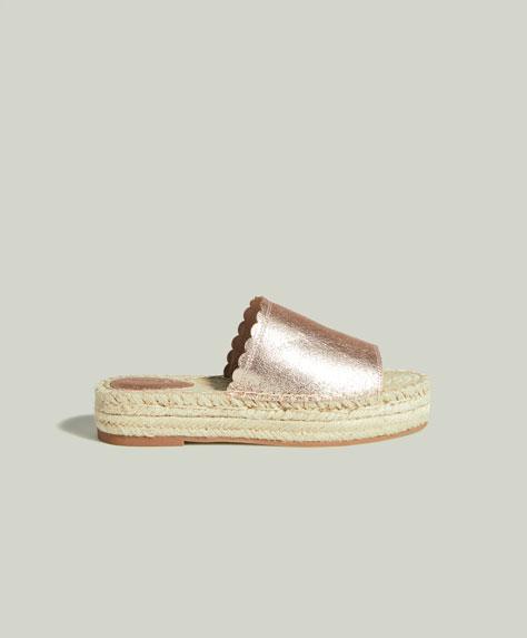 Sandales flatform métallisées