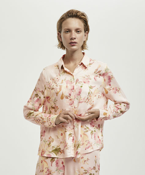 Floral shirt with pink background