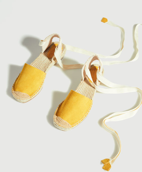 Mid-height wedge espadrilles with tie-up fastening