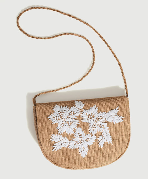 Embroidered raffia bag