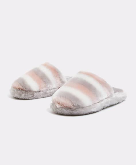 Slippers in pelliccia sintetica tricolore