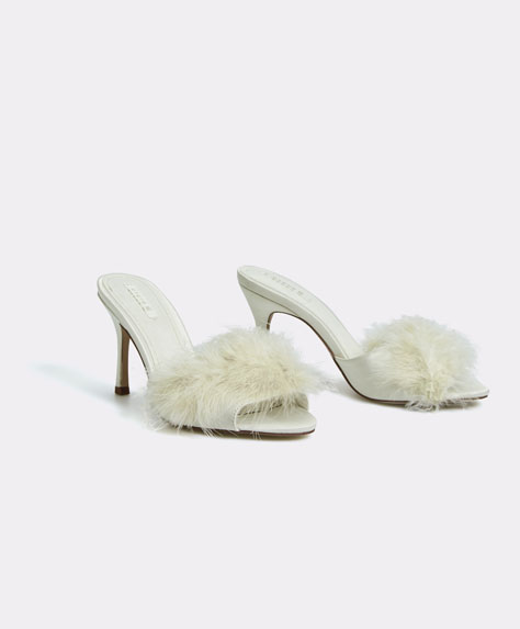 Marabou high-heel sandals