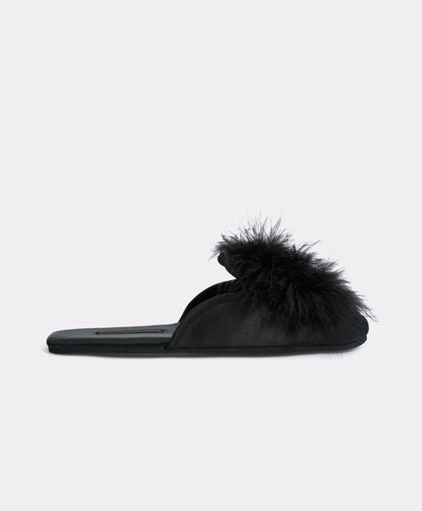 Black marabou slippers