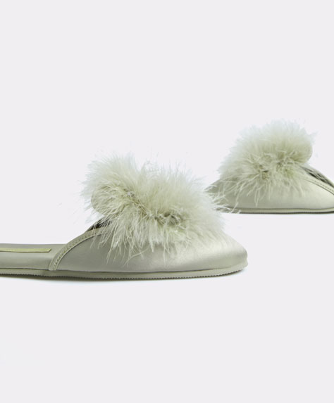 Marabou feather slippers