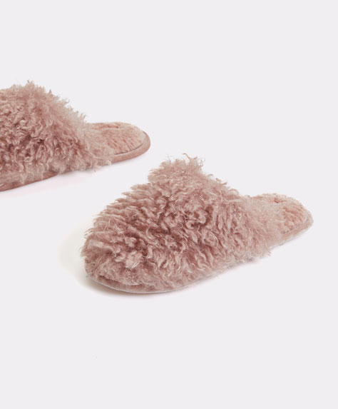 Fluffy velour trim slippers