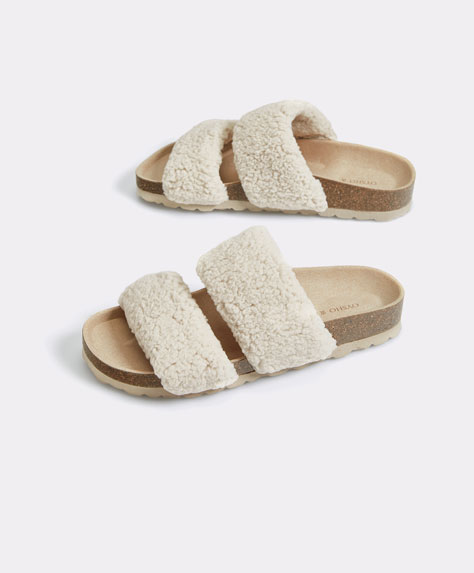 Faux shearling double-strap slides
