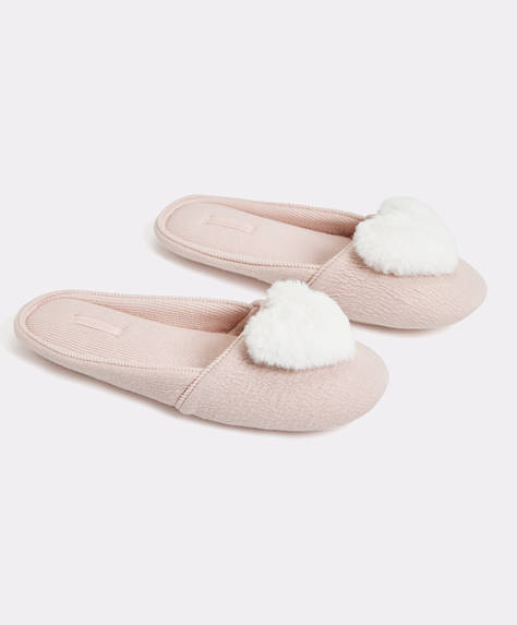 Slippers with raised heart