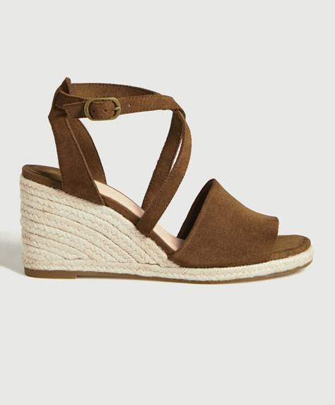 Split suede strappy wedges