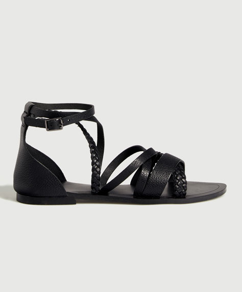Leather sandals with braided straps