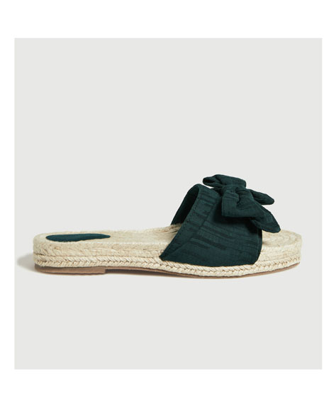 Slide espadrilles with bow