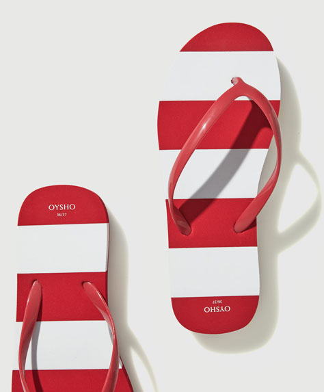Striped wedge beach sandals