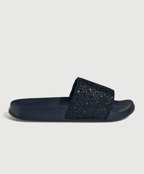 Glitter vamp sandals