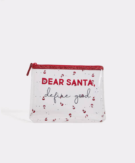 Transparent Dear Santa makeup bag
