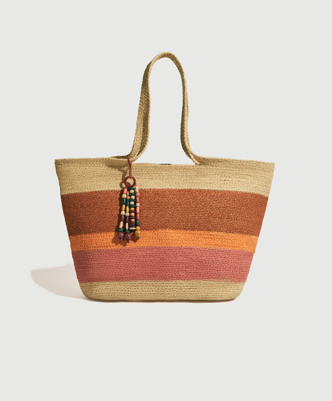 Colourful raffia tote bag