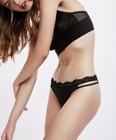 Tulle and lace strap detail thong