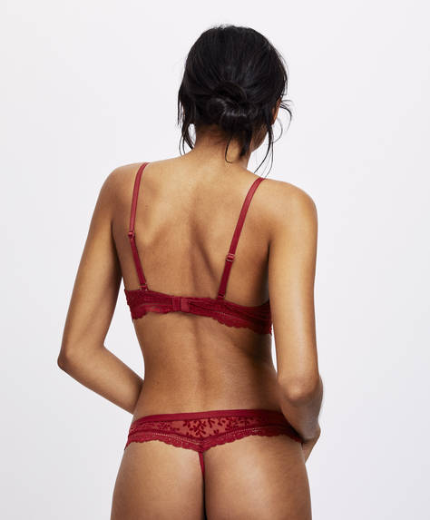 Strappy thong with flocking and lace