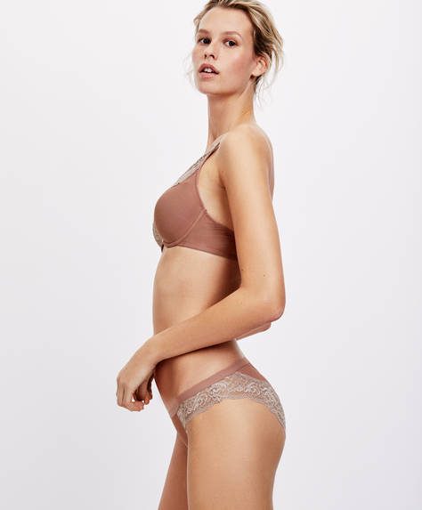 Classic tulle lace-trim briefs