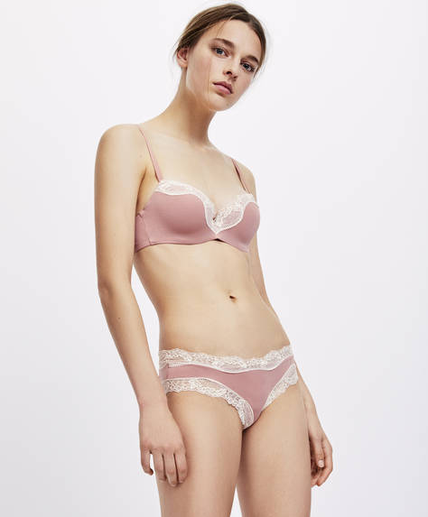 Pink micro lace hipster briefs
