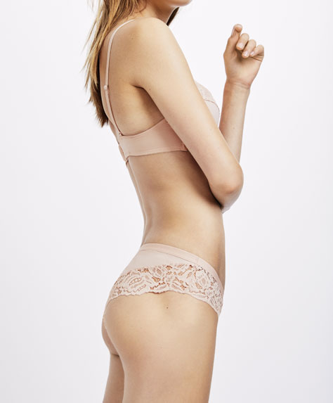 Pink lace hipster briefs