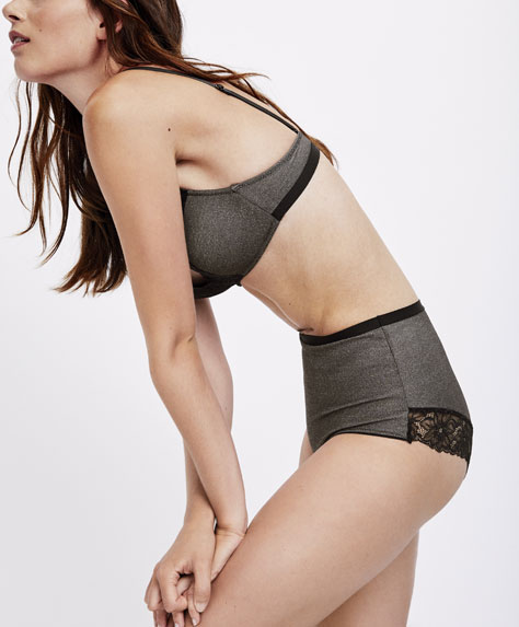 High waist micro-ribbed heather briefs