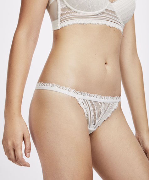 Geometric lace strappy Brazilian briefs