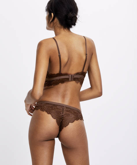Leaf-design fringed lace Brazilian briefs