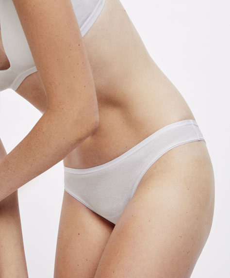 Ribbed cotton brazilian briefs