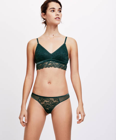 Velvet and lace Brazilian briefs