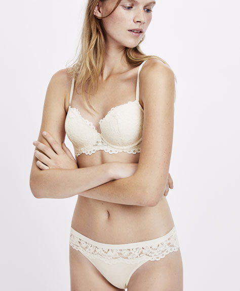 Cotton Brazilian briefs with lace