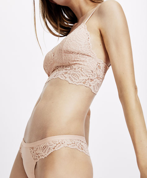 Pink lace Brazilian briefs