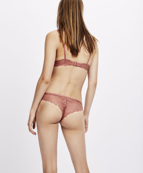 Leaf pattern lace Brazilian briefs