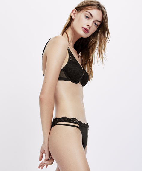 Brazilian tulle and lace strap detail briefs
