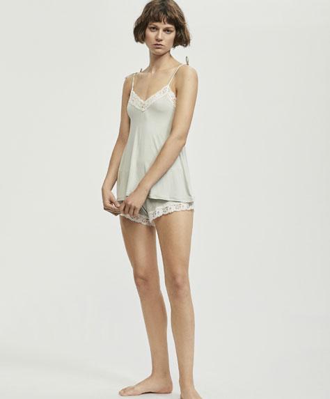 Modal shorts with opaque leaf trims - Bottom half - Pyjamas and ... b016c20abfb