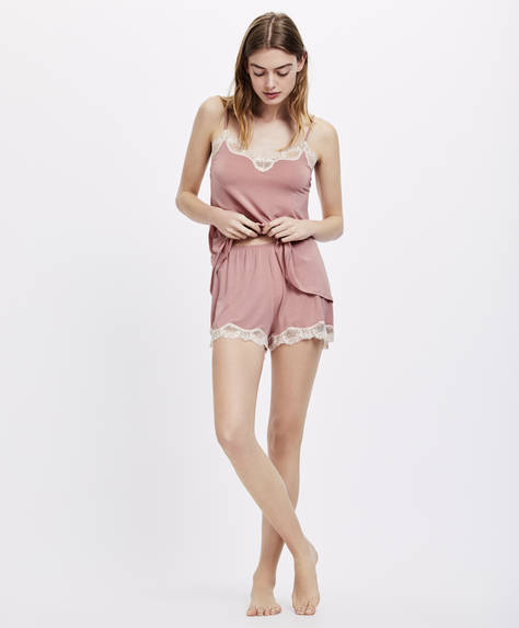Modal shorts with lace leaves