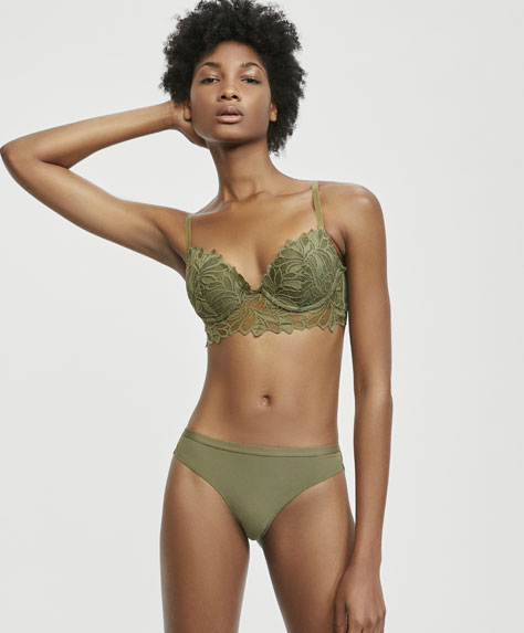 Khaki leaf patterned lace push-up bra