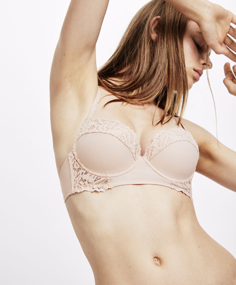 Pink lace push-up bra