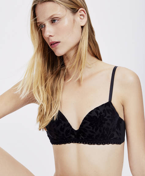 Black flocked push-up bra