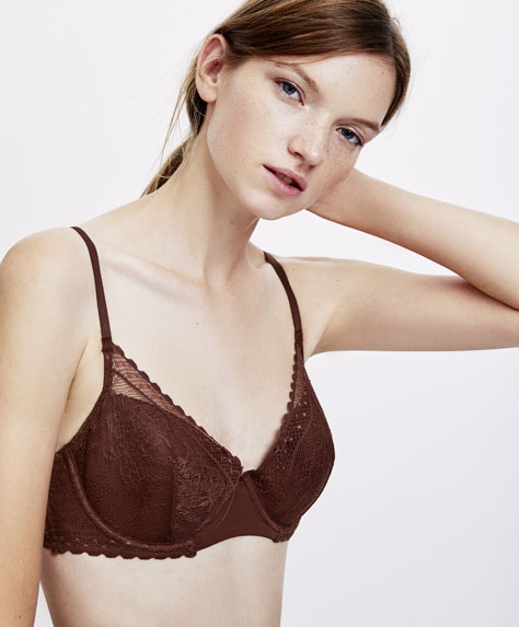 Lace embroidered balconette bra
