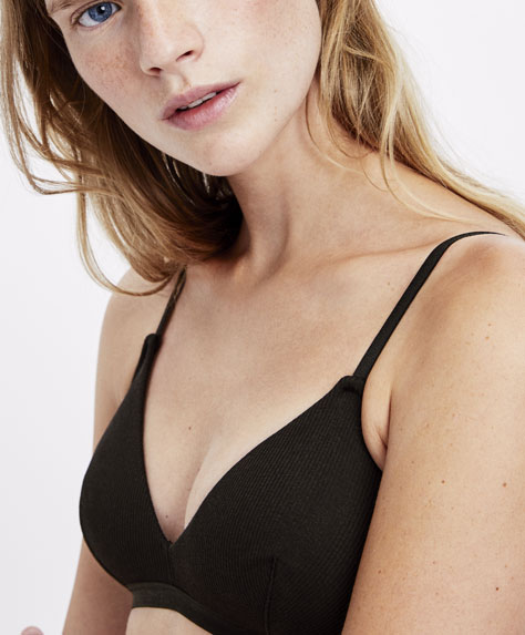 Ribbed cotton triangle bra