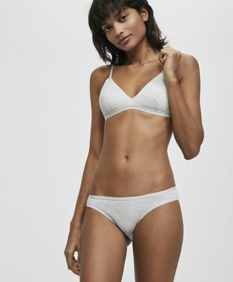 Ribbed cotton triangle bra
