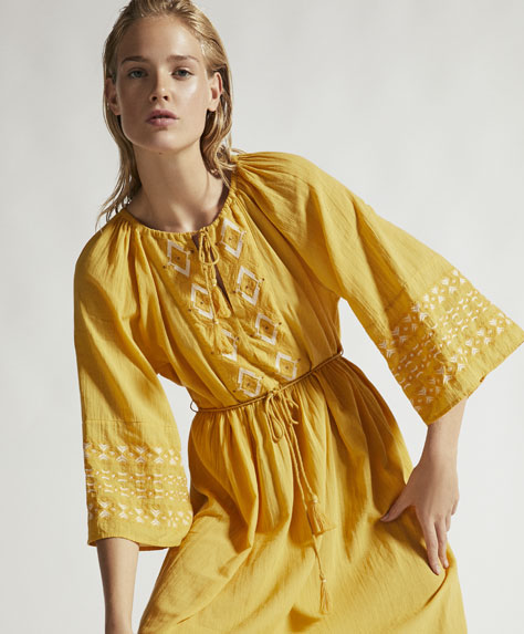 Long yellow embroidered tunic