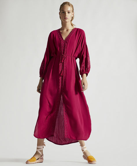 Long red embroidered tunic