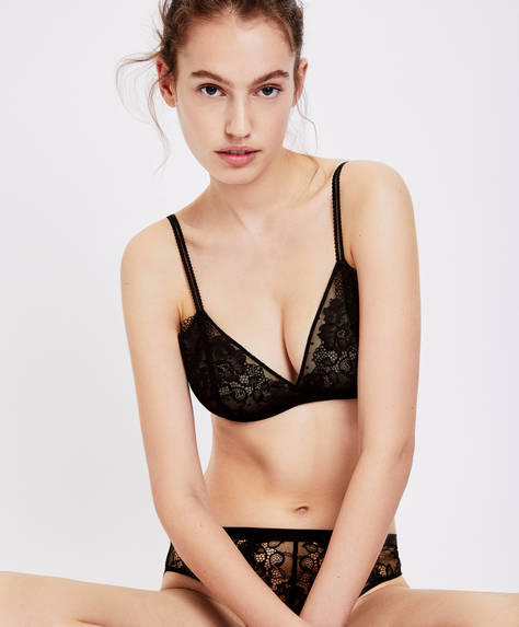 Sheer lace bra