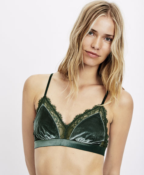 Triangle velvet bra