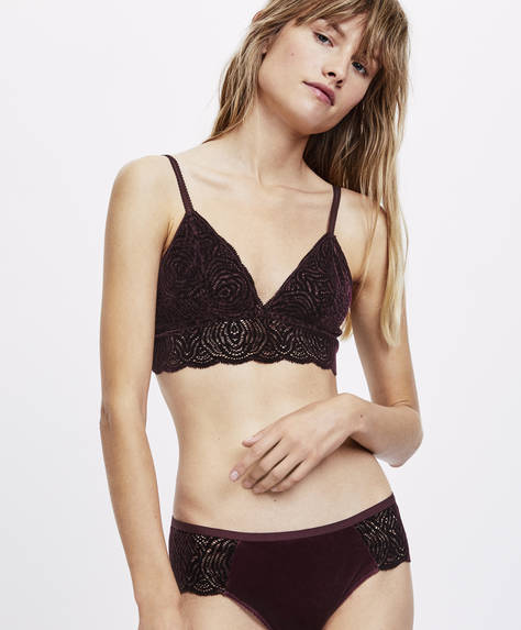 Flocked lace triangle bra