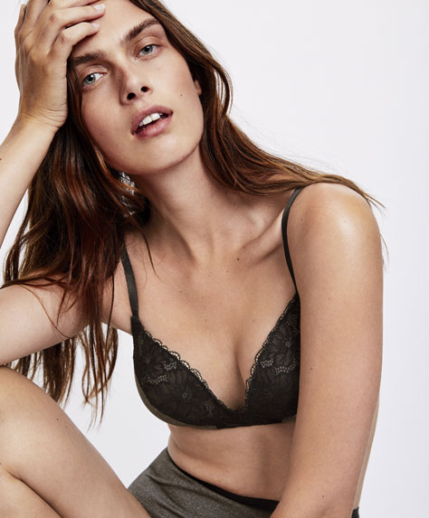 Micro-ribbed heather triangle bra