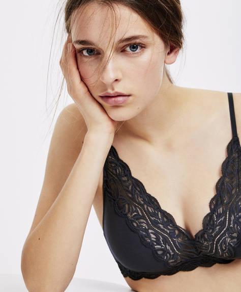Plain blonde lace full cup comfort bra
