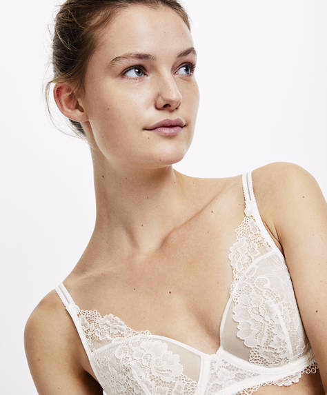 Triangular lace bra